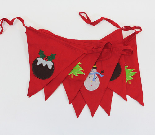 Red Christmas Cotton Bunting