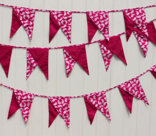 Pink Paisley Dual-Pennant Bunting