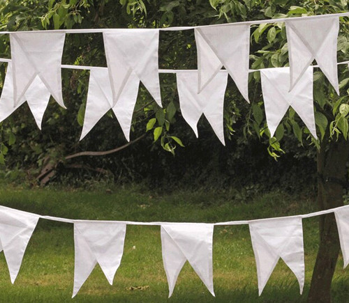 White Dual Pennant Fabric Bunting