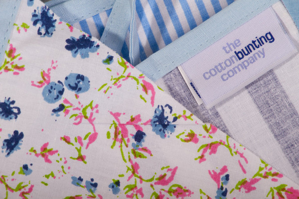 Economy Blue Floral Bunting Close Up