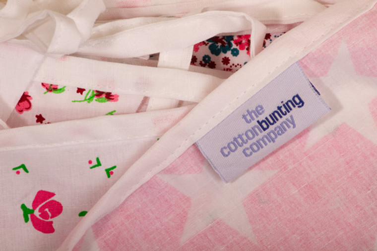 Economy Pink Floral Bunting Close Up