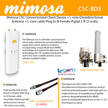 Mimosa Networks C5C Connectorized Client Device + L-com HG5158DP-10U Omnidirectional Antenna + L-com cable Plug to N-Female (2 UNITS)