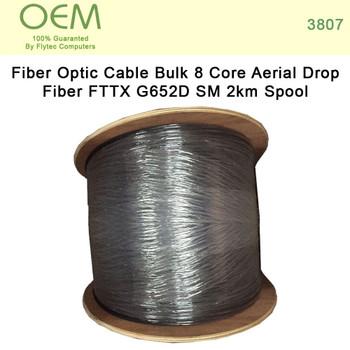 Fiber Optic Cable Bulk - 8 Core Aerial Drop Fiber FTTX G652D SM 2km Spool (3807)