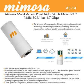 Mimosa Networks - 100-00017 - A5-14-NA, A5-360 5GHz AP w/ 14 dBi 360D Quad Sector Integrated
