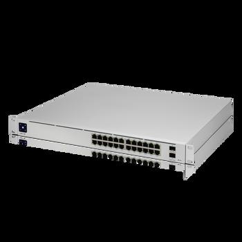 Ubiquiti USW-Pro-24-PoE UniFi Pro PoE 24-Port Gigabit Managed PoE Network Switch with SFP+ Front Angle