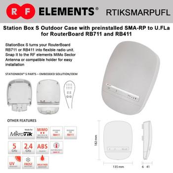 RF Elemtents RTIKSMARPUFL StationBox S – preinstalled SMA-RP to U.FL outdoor enclosure