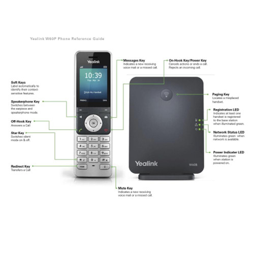 Yealink W60P DECT Package IP phone system (W60P)