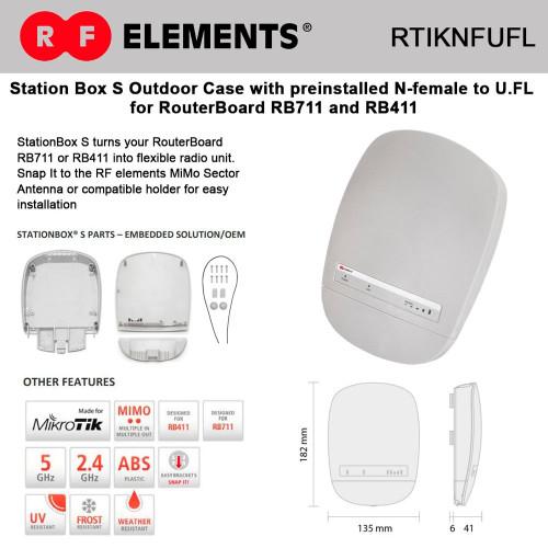 RF Elements RTIKNFUFL StationBox S – preinstalled N-female to U.FL outdoor enclosure