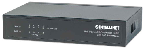 Intellinet 561082 PoE Powered 5-Port Gigabit Switch with PoE Passthrough