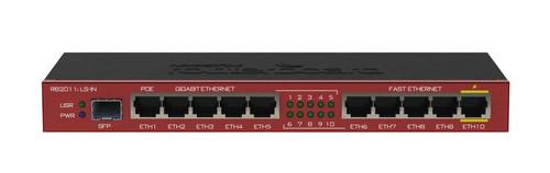MikroTik RB2011iLS-IN 5xEthernet, 5xGigabit Ethernet, SFP cage, PoE out on port 10, 600MHz CPU, 64MB RAM, RouterOS L4 Fiber-enabled