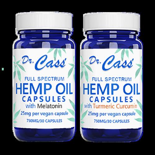 Hemp Oil Turmeric and Melatonin CBD Vegan Capsule Combo.