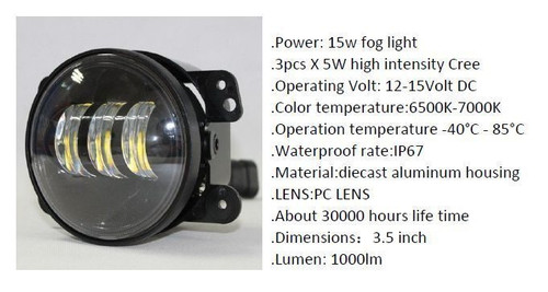 "15w 3.5"" INFINITY FOG LIGHT CREE 5W LED Spotlight Lightbar x 2 1000 Lm Pair"