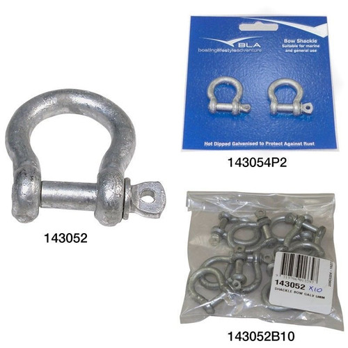 BLA Bow Shackle - Galvanised 143054 Qty: 1 Pin Dia.: 6mm/ 1/4 inch