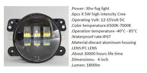 "30w 4"" INFINITY FOG LIGHT CREE 5W LED Spotlight Lightbar x 2 1800 Lm Pair"