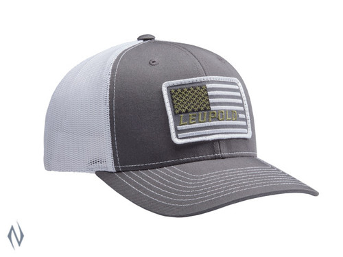 LEUPOLD #112 FLAG PATCH TRUCKER CAP CHARCOAL / WHITE OS - LE172603