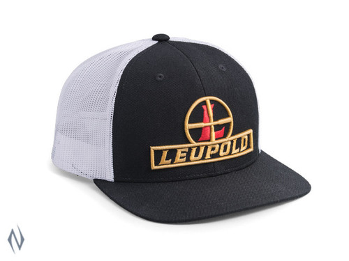 LEUPOLD #511 RETICLE FLAT BILL TRUCKER CAP BLACK / WHITE OS - LE172601