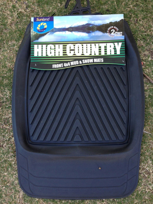High Country Dished Heavy Duty Floor Mats 4X4 Front Snow Mats Pair Black FMHF201