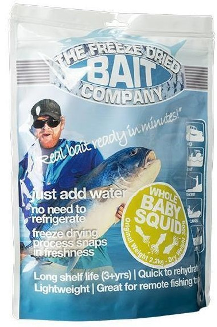 FREEZE DRIED BAIT COMPANY Freeze Dried Whole Baby Squid 300g = 2.25KG FDB719 ***