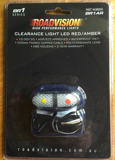 BR1AR LED CLEARANCE LAMP BR1 RED/AMBER ROAD VISION ***
