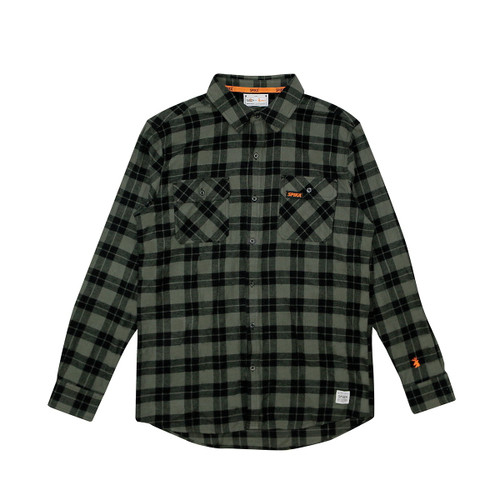 SPIKA - GO CASUAL CHECK SHIRT – MENS – OLIVE Size: L - GOR-CKO-1A
