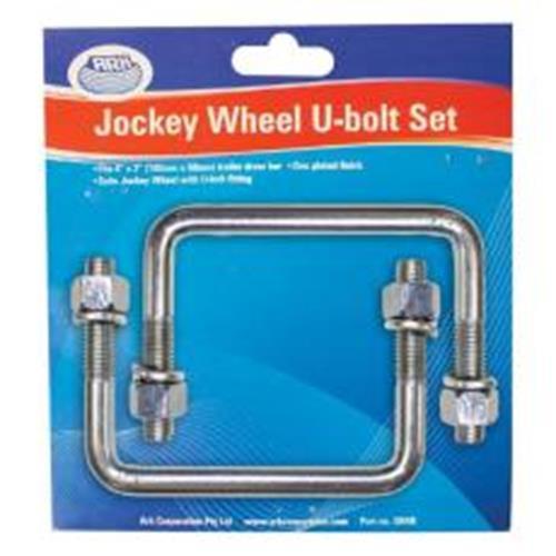 """JOCKEY WHEEL U BOLT 4""""W X 3""""L X 1/2"""" ZINC CARD OF 2 213134"""