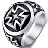 8mm Mens Stainless Steel Iron Cross Punk Ring