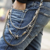 Rock Fashion Punk Rock Style Men Belts Chain Three Layer Stainless Bullet Buckle Jeans Pants Belly Waist Chain