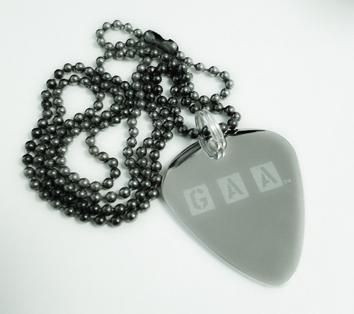 GAA Members 24in Polished S.S. Guitar Pick Necklace