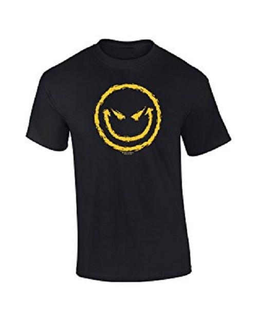 Evil Smiley Emoji Face Black T Shirt