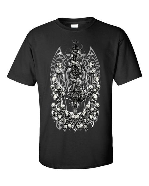 Dragon Skulls  & Skulls Black T Shirt