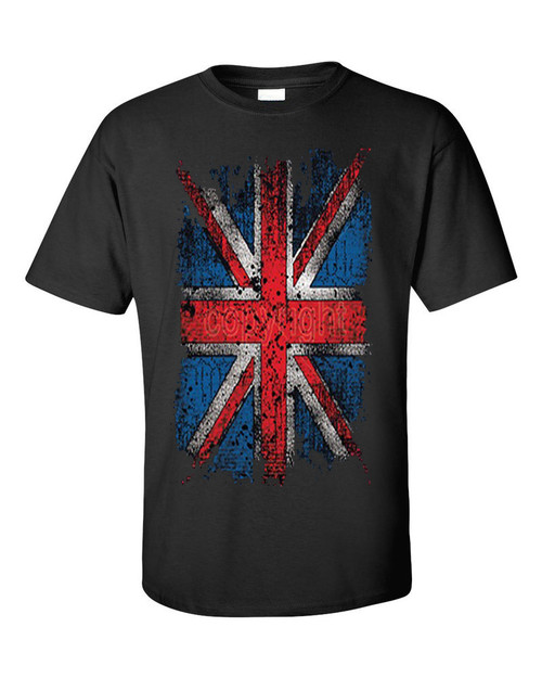 Distressed UNION JACK Flag Black T Shirt