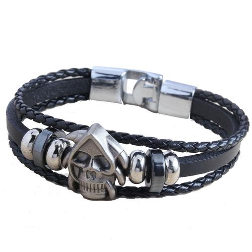 Handmade Retro Genuine Leather Woven Skull Charm Braided Bracelets
