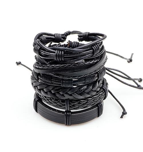 6PCs Black Leather Bracelet Men Woman Multilayer Braid Bracelets Rock Fashion