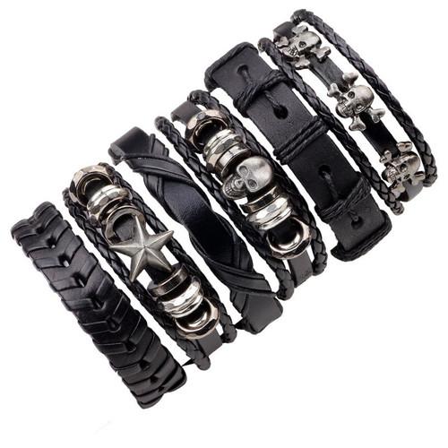 6PCs Black Leather Bracelet Men Woman Braid Bracelets With Metal Charms Rock Fashion