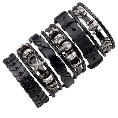 6PCs Black Leather Bracelet Men Woman Braid Bracelets With Metal Charms Rock Fashion