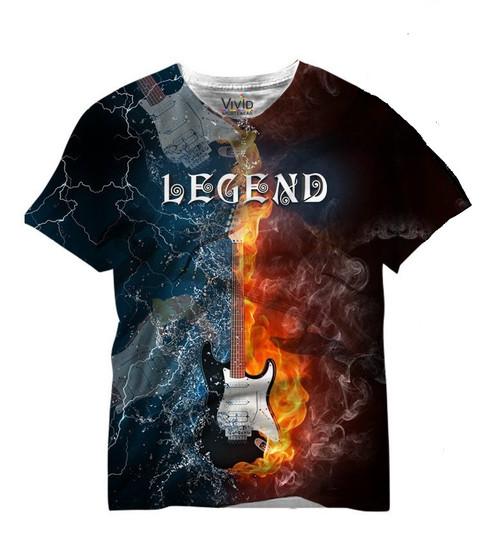 Vivid Allover Print Legend Electric Guitar T Shirt