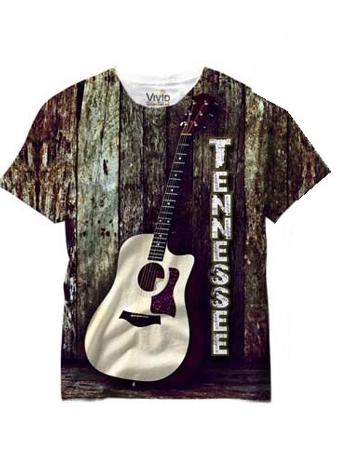 Vivid Allover Print Tennessee Acoustic Guitar T Shirt
