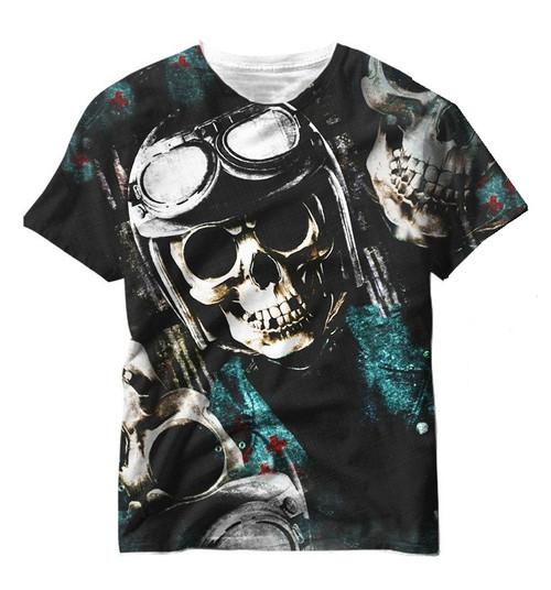 Vivid Allover Print WW2 Dead Pilot Skull Mens T Shirt