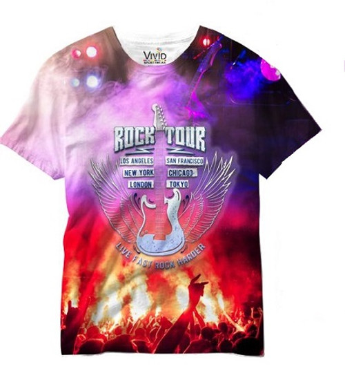 Vivid Allover Print Rock Tour Mens T Shirt