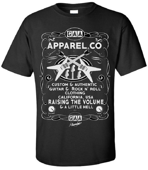 "guitar t shirt, G.A.A. Apparel Co. Guitar T Shirt Brand ""Raising the Volume & Little Hell"""