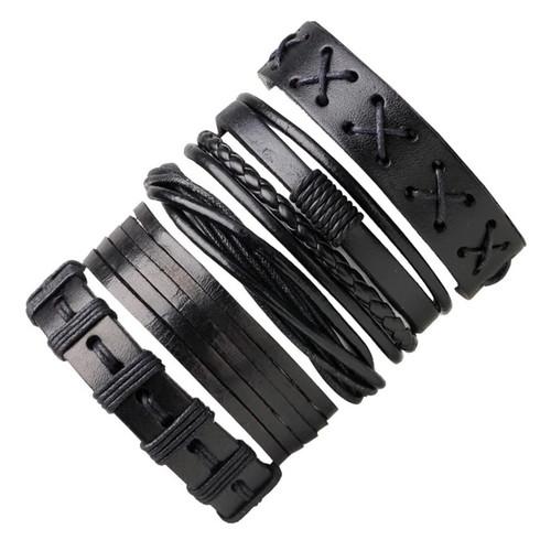5-6PCs Punk Rock Skull Star Leather Bracelets For Men Women Gothic Braided Rope Jewelry Gifts Multi Charm Bracelet