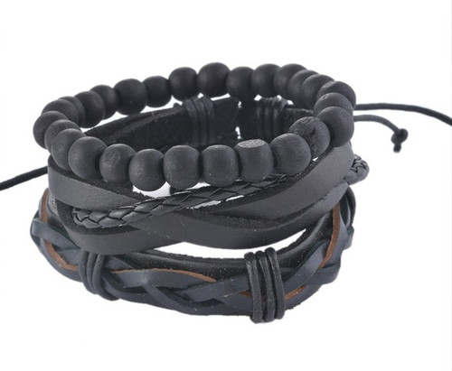 3PCs Punk Rock Black Leather Bracelets For Men Women Gothic Braided Rope & Beads