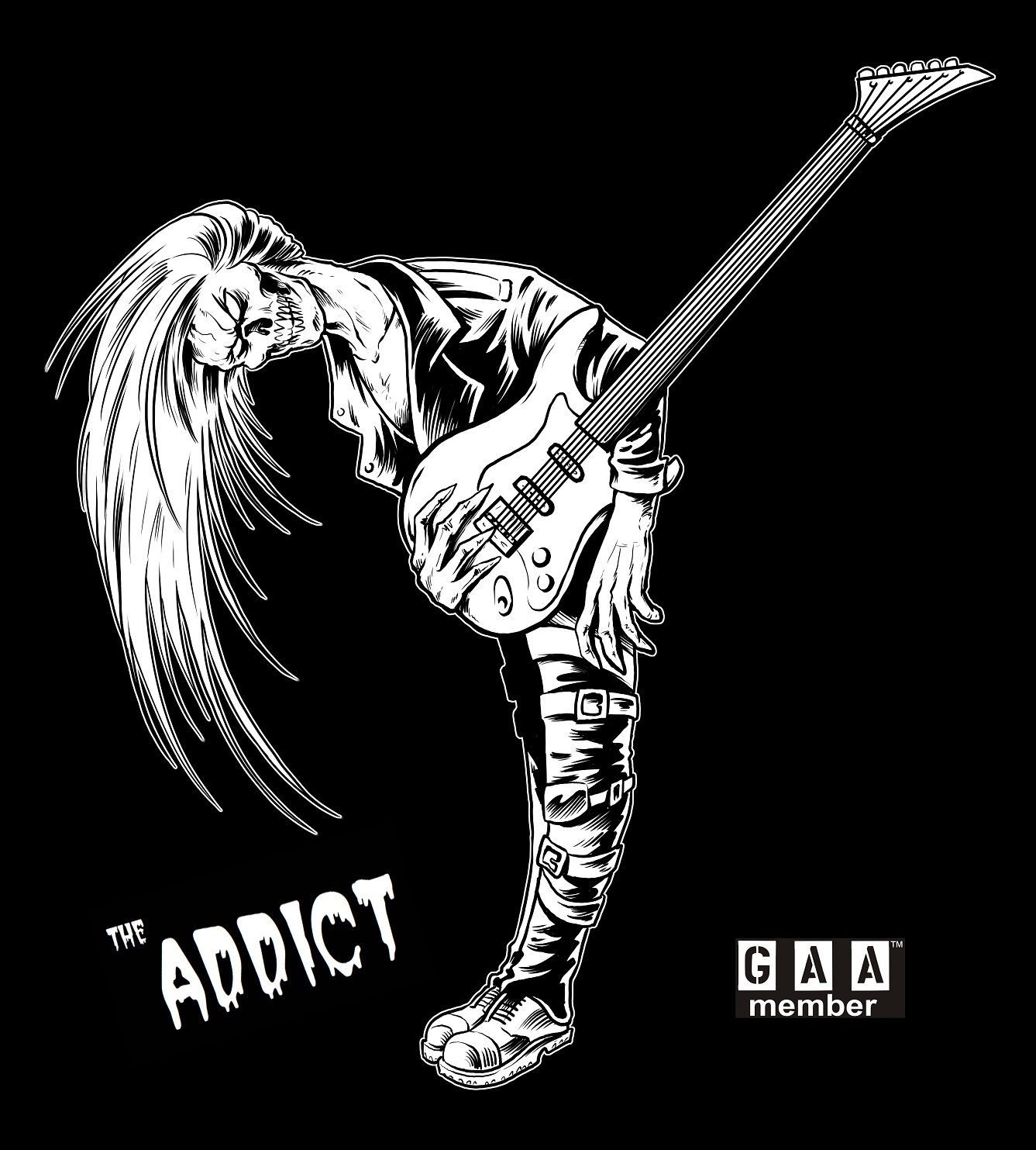 "G.A.A. New Mascot ""the ADDICT""  Guitar T-Shirt Coming Soon"