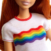 Barbie Fashionistas Doll 122 - Original with Red Hair wearing Rainbow Graphic T-Shirt