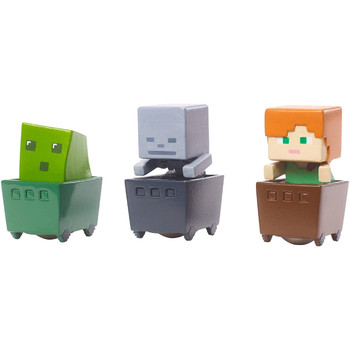 Minecraft SLIME CUBE, ALEX & SKELETON Minecart 3-Pack