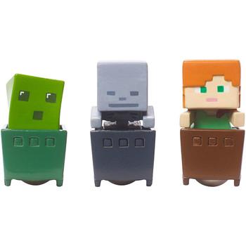 Minecraft SLIME CUBE, ALEX & SKELETON Minecart 3-Pack