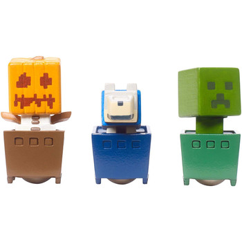 Minecraft SNOW GOLEM, CREEPER & WOLF Minecart 3-Pack