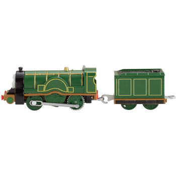 Locomotive towing tender measures around 20.5 cm (8 inches) long.
