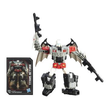 Transformers Deluxe Class Autobot Twinferno and Titan Master Daburu figures.