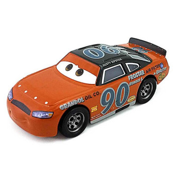 Disney Pixar Cars: Thomasville Racing Legends PONCHY WIPEOUT is decoed in the orange and grey livery of the classic racer Rusty Dipstick